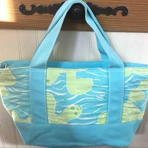 LILLY PULITZER light blue & green turtle print bag